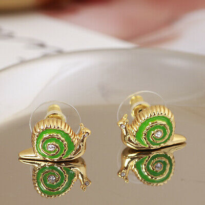 $ CDN25.51 • Buy Kate Spade Green Lawn Party Snail Slug Crystal Stud Holiday Earrings W/ Gift Box