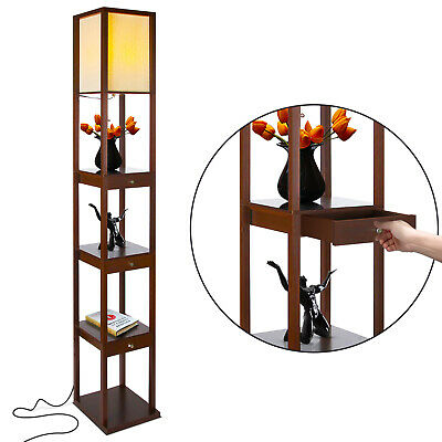 Brightech Maxwell Standing Tower Floor Lamp W/ Shelves And Drawers, Havana Brown • 65.12£