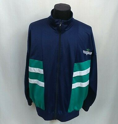 Vintage 80s Adidas Track Top Jacket Navy Blue Green White Size L West Germany • 24.77£