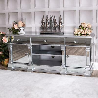 Large Silver Mirrored Television Stand TV Unit Furniture Glass Cabinet Home • 132£