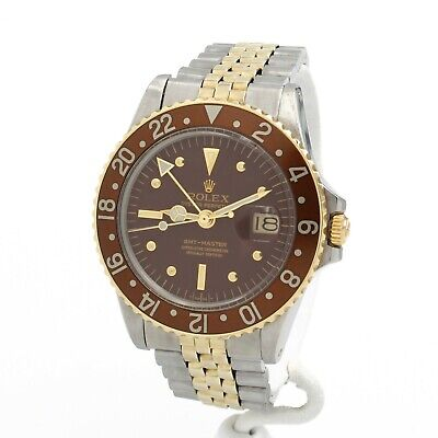 $ CDN10571.61 • Buy Rolex 1675 Gmt Master 14k/ss Root Beer W/ Brown Nipple Dial, Box Papers- #8932