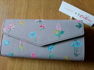 Cath Kidston Large Envelope Wallet Purse Twilight Sprig In Fawn (Taupe) *BNWT* • 22£