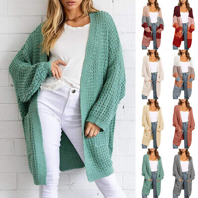 Womens Loose Chunky Knitted Cardigan Long Outwear Sweater Coat Pocket Cardigan  • 17.56£