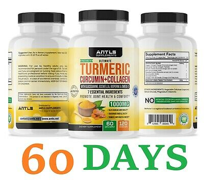 $29.98 • Buy Turmeric Curcumin,Joint Pain Relief, Support,Collagen,Omega3,Glucosamine,120 Ct