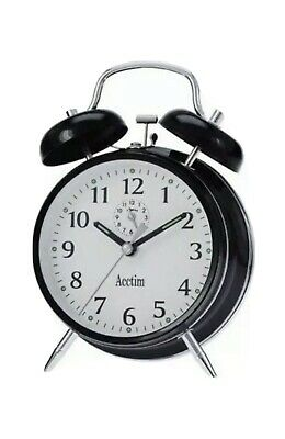 £11.99 • Buy Acctim Saxon Traditional Double Bell Wind Up Alarm Clock - Black 12623 New