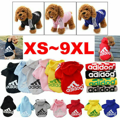 Large-Small Adidog Pet Dog Sweater Hoodie Puppy Cat Coat Jacket Jumpsuit Apparel • 4.08£
