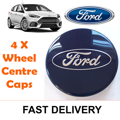 SET Of 4 BLUE 54mm Alloy Wheel Centre Caps For FORD Focus Mondeo Fiesta Galax J • 6.99£