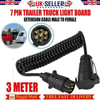 3m Trailer Board Extension Cable Light  Lead 7 Pin Plug Socket Caravn Towing • 9.68£