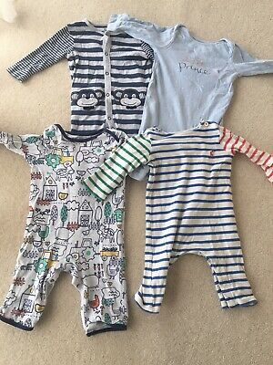 Baby Boy Sleepsuits 6-9 Months Bundle Joules Blue Zoo • 2.15£