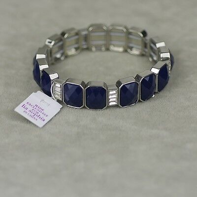 $ CDN9.34 • Buy Lia Sophia Signed Jewelry Stretch Tennis Link Bangle Bule Cut Crystal Bracelet