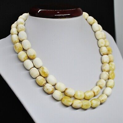 68.63g Antique White Boney Baltic Amber Butterscotch Bead Necklace Formed  • 0.76£