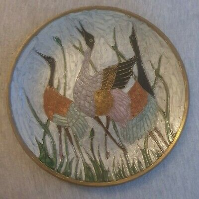 Vintage Indian Brass Enamel Decorative Hanging Plate Ornate 3 Birds Grass India • 4.50£