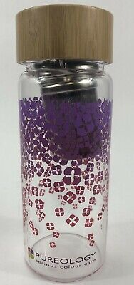 PUREOLOGY Glass Infuser Bottle Tea Fruit Water With Bamboo Lid New No Box • 9.13£