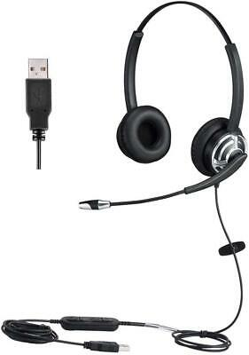 USB Headset With Noise Cancelling Microphone Dual Ear Skype Headset With Speech • 48.29£