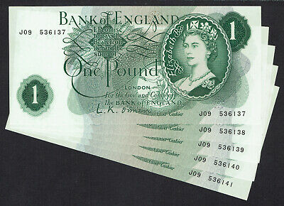 🌟 GB O'BRIEN £1 ONE POUND NOTE B281 BANKNOTES - 5x CONSECUTIVE • 7£