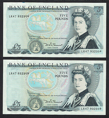 🌟 GB SOMERSET £5 FIVE POUNDS NOTE B343 BANKNOTES - 2x SAME PREFIX • 11.06£