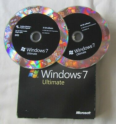 Microsoft Windows 7 Ultimate Full UK Retail Box, 32 & 64 Bit, Product Key & COA • 89£