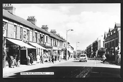 Vintage 1960s RP Cheshire Postcard: Whitby Road, Ellesmere Port. Cars, Shops • 4.50£