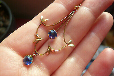 Edwardian 9 Carat Gold And Sapphire Lavaliere Pendant And 9 Carat Gold Chain • 23£