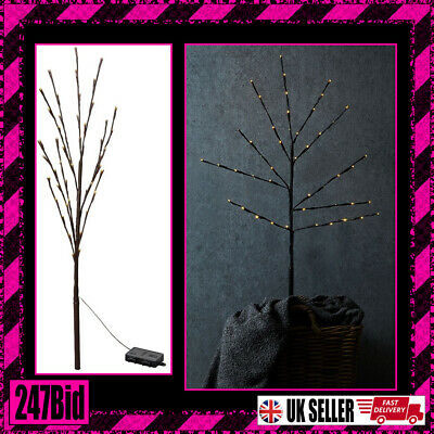 50 LED BRANCH LIGHTS DECORATIVE INDOOR BATTERY OPERATED FAIRY LIGHTS 110cm TWIGS • 12.19£