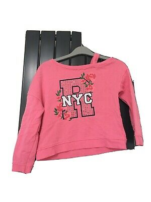 River Island Off The Shoulder NYC Pink Jumper Age 7-8  • 2.30£