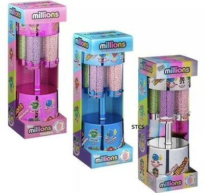 Millions Large Sweet Dispenser Machine & 8 X 16g Bags Of Million Sweets - Silver • 20£