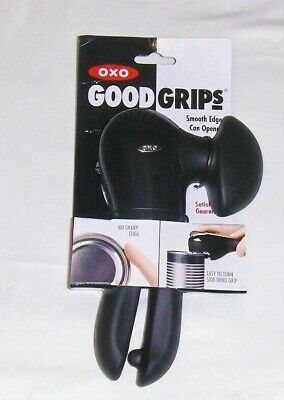 New OXO GOOD GRIPS CAN OPENER SMOOTH EDGE MANUAL HANDICAP BLACK STAINLESS STEEL • 18.39£