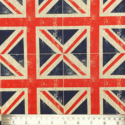 NEW UNION JACK LINEN LOOK DIGITAL PRINT CURTAIN/CRAFT COTTON-RICH FABRIC P/m • 10.75£