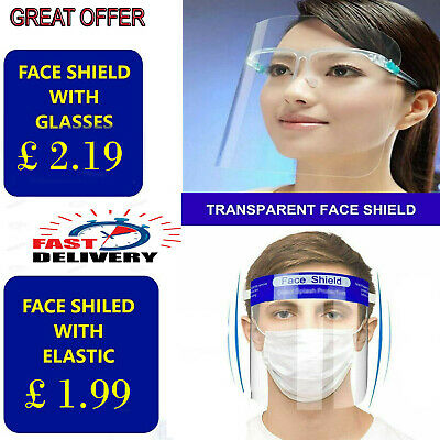 £2.19 • Buy Face Shield Full Face Visor Protection Mask PPE Shield Transparent Clear Plastic