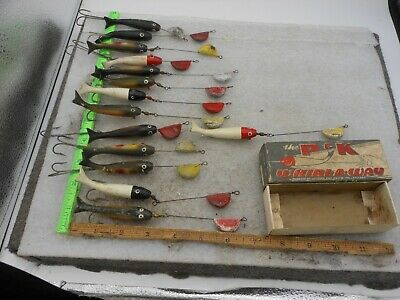 $ CDN46.71 • Buy Vintage Lot Of 14 P&k Whirl A Way Fishing Lures One With A Box