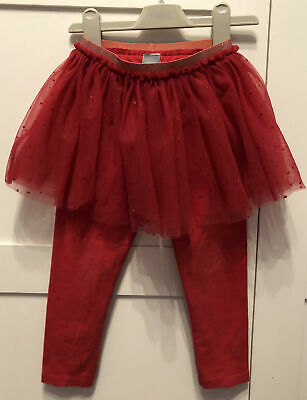 Girls 3-4 Next Christmas 2019 Red Leggings & Attached Sparkly Tutu Skirt! VGC! • 5.50£