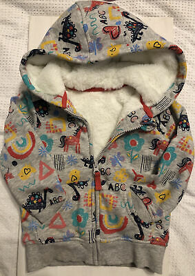 Girls 3-4 Bright Warm Winter Zipped Fur Lined Hoodie BNWOT NEW! • 3£