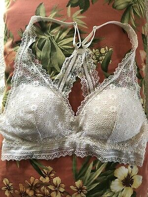 Victoria Secret  Racer Back Ivory Lace Cami Bralette Med EUC Light Padding • 6.08£