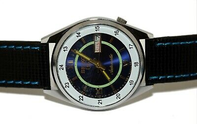 $ CDN31.55 • Buy Blue Dial Seiko Hand Winding Mens Steel Rare Vintage Wrist Watch Run