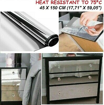 Furniture Cover Self Adhesive Film Mirror Effect Sticky Back Vinyl Books Shelves • 11.48£