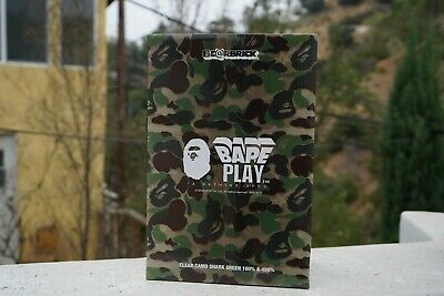 $450 • Buy Bearbrick X BAPE ABC Camo Shark 100% & 400% Set Clear Green *IN HAND*