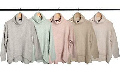 Ex New Look Womens Slouchy Reverse Knit Polo Neck Jumper Pastel Colours • 14.95£
