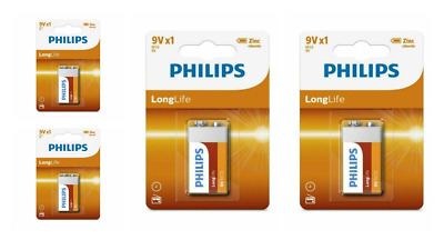 4 X Philips Long Life 9V Zinc Chloride Battery Block PP3 6F22 - Smoke Alarms • 3.69£