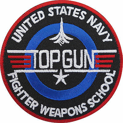 £2.79 • Buy Top Gun Patch Embroidered Iron / Sew On Badge Navy Air Force Fancy Dress Costume