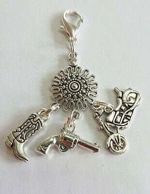 Clip On Pendant Charm Bike, Pistol / Gun & Boot Charm With Clasp Ready To Use • 2.99£