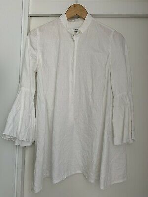 AU55 • Buy Scanlan Theodore White Linen Flare Sleeve Top Size 8 Small