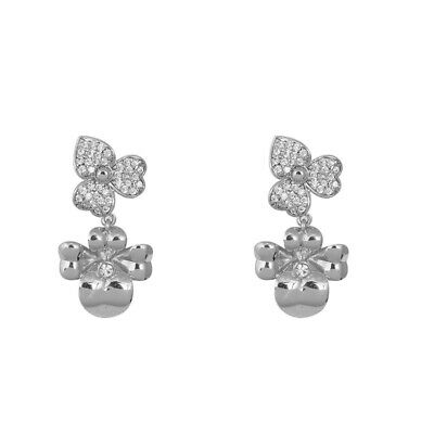 $ CDN24.64 • Buy Kate Spade Double Pansy Crystal Silver Drop Dangle Holiday Earrings W/ Gift Box