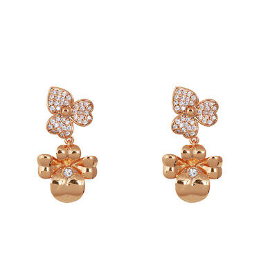 $ CDN24.64 • Buy Kate Spade Double Pansy Crystal Rose Gold Drop Holiday Earrings W/ Gift Box
