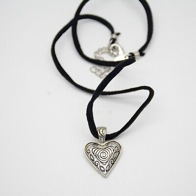$ CDN8.01 • Buy Lia Sophia Jewelry Antique Silver Plated Heart Pendant Leather Chain Necklace