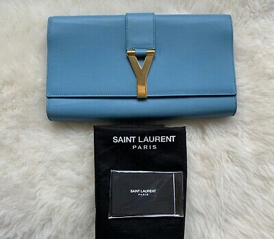 AU300 • Buy YSL Saint Laurent Blue Calfskin Leather Clutch Bag