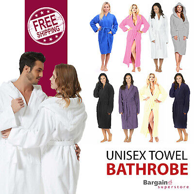 Terry Towel Bath Robe 100% Cotton Toweling Dressing Hooded Adults Gown Unisex • 15.95£