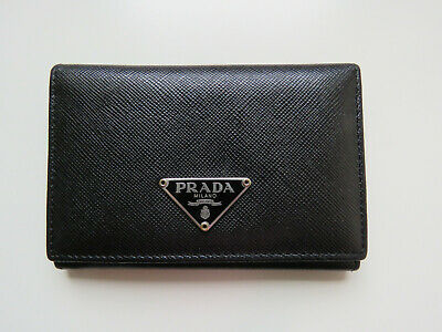 Prada Business Cardholder Saffiano Leather Black With Certificate • 90£