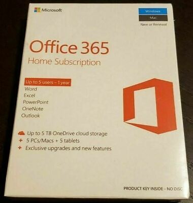 AU104.22 • Buy New Sealed Microsoft Office 365 Home 1 Year Subscription For 5 PCs & MACs