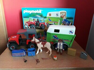 Playmobil Set 4189 Jeep, Horse Box , Horse , Figure And Accessories  • 6£