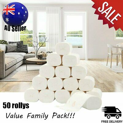 AU35.99 • Buy 50 Rolls Toilet Paper Bulk Rolls Tissue Bathroom White Soft 5 Ply Family Pack AU